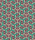 Vector modern seamless colorful geometry cube pattern, color abstract Royalty Free Stock Image