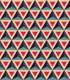 Vector modern seamless colorful geometry pattern, 3D triangles, color red blue, abstract. Geometric background, trendy multicolored print, retro texture Vector Illustration