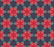 Vector modern seamless colorful geometry petal flower mandala pattern, color blue red abstract. Geometric background, trendy multicolored print, retro texture Royalty Free Stock Photo