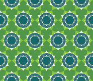 Vector modern seamless colorful geometry petal flower mandala pattern, color green abstract. Geometric background, trendy multicolored print, retro texture Stock Photography