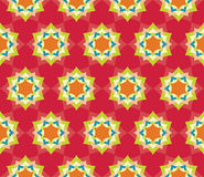 Vector modern seamless colorful geometry petal flower mandala pattern, color red abstract. Geometric background, trendy multicolored print, retro texture Royalty Free Stock Photos