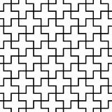 Vector modern seamless geometry pattern cross tiles, black and white abstract Stock Photo