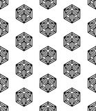 Vector modern seamless geometry pattern cubes, black and white abstract. Geometric background, pillow print, monochrome retro texture, hipster fashion design Stock Image