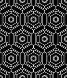 Vector modern seamless geometry pattern hex, black and white abstract Royalty Free Stock Photo