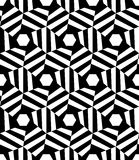 Vector modern seamless geometry pattern hexagon trippy, black and white abstract Royalty Free Stock Photo