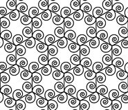 Vector modern seamless geometry pattern spiral hexagon, black and white abstract Royalty Free Stock Images