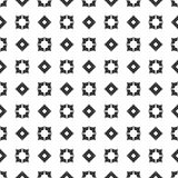 Decorative Seamless Floral Geometric Black & White Pattern Background. Vector modern seamless geometry pattern star, black and white abstract Stock Image