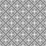 Decorative Seamless Floral Geometric Black & White Pattern Background Stock Photos