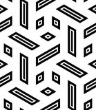 Vector modern seamless geometry pattern trippy, black and white abstract Royalty Free Stock Image