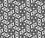 Vector modern seamless geometry pattern trippy, black and white abstract. Geometric background, pillow print, monochrome retro texture, hipster fashion design Stock Images