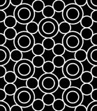 Vector modern seamless sacred geometry pattern circles, black and white abstract Royalty Free Stock Photos