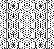Vector modern seamless sacred geometry pattern 3d, black and white abstract. Geometric background, pillow print, monochrome retro texture, hipster fashion Royalty Free Stock Image