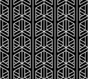 Vector modern seamless sacred geometry pattern 3d, black and white abstract. Geometric background, pillow print, monochrome retro texture, hipster fashion Royalty Free Stock Images