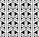 Vector modern seamless sacred geometry pattern 3d, black and white abstract. Geometric background, pillow print, monochrome retro texture, hipster fashion Royalty Free Stock Photo