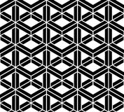 Vector modern seamless sacred geometry pattern 3d, black and white abstract. Geometric background, pillow print, monochrome retro texture, hipster fashion Stock Photos