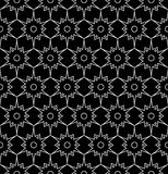 Vector modern seamless sacred geometry pattern floral, black and white abstract geometric background Royalty Free Stock Image