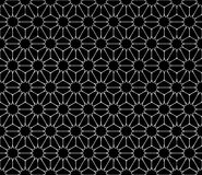 Vector modern seamless sacred geometry pattern floral, black and white abstract Royalty Free Stock Image