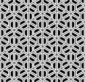 Vector modern seamless sacred geometry pattern hexagon, black and white abstract Stock Photos