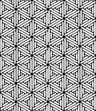 Vector modern seamless sacred geometry pattern hexagon, black and white abstract Stock Images