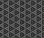 Vector modern seamless sacred geometry pattern hexagon, black and white abstract Royalty Free Stock Photo