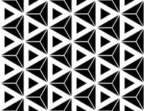 Vector modern seamless sacred geometry pattern hexagon triangles, black and white abstract royalty free illustration