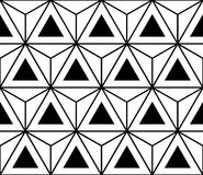 Vector modern seamless sacred geometry pattern hexagon triangles, black and white abstract stock illustration