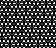 Vector modern seamless sacred geometry pattern pentagon, black and white Royalty Free Stock Images