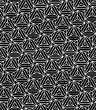 Vector modern seamless sacred geometry pattern triangles illusion, black and white abstract Stock Photo