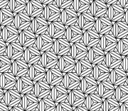 Vector modern seamless sacred geometry pattern triangles illusion, black and white abstract Stock Photos