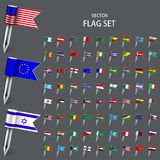 Vector modern set  flags of the world. On gray background. Eps10 Stock Photography