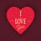 Vector modern shape heart with words I Love You on golden dotted backround. Can be used for banners, promo materials. Stock Photo
