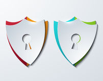 Vector modern shield set on sample background. Stock Image