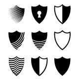 Vector modern shields icons set on white Stock Photography
