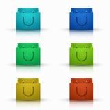 Vector modern shooping bag icons set Stock Image