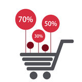 Vector modern shooping sale icons background. Royalty Free Stock Images