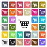 Vector modern Shopping cart flat design icon set in button.  Stock Photography