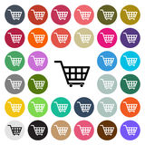 Vector modern Shopping cart flat design icon set in button Royalty Free Stock Photo