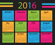 Vector modern and simple calendar 2016. Vector illustration of a modern and simple calendar 2016 stock illustration