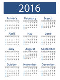 Vector modern and simple calendar 2016. Vector illustration of a modern and simple calendar 2016 Stock Photo