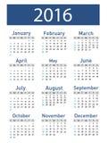 Vector modern and simple calendar 2016 Stock Photo