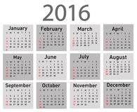 Vector modern and simple calendar 2016 Royalty Free Stock Image