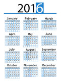 Vector modern and simple calendar 2016 Royalty Free Stock Images