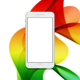 Vector modern smartphone on colorful abstract waves background Royalty Free Stock Photos