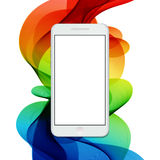 Vector modern smartphone on colorful abstract waves background. Stock Photos
