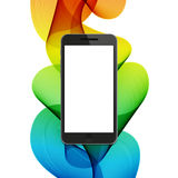 Vector modern smartphone on colorful abstract waves background. Royalty Free Stock Images