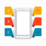Vector modern smartphone infographics background Royalty Free Stock Images