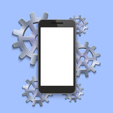 Vector modern smartphone with mechanism cog background. Royalty Free Stock Photo