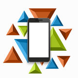 Vector modern smartphone triangular background. Royalty Free Stock Images