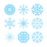 Vector modern snowflakes flat icons set. On white background Stock Image