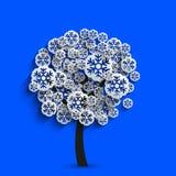 Vector modern snowflakes tree Stock Photo